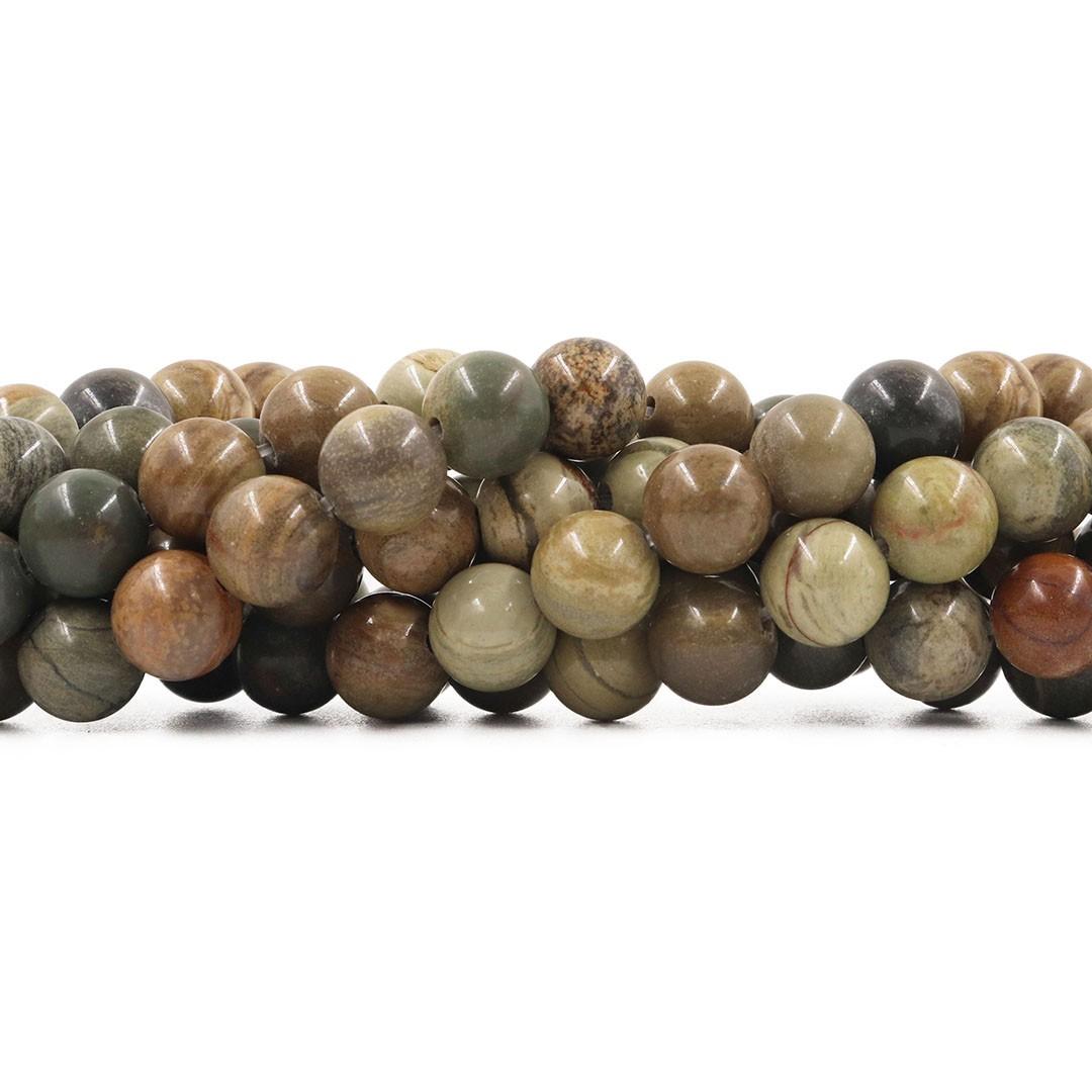 Fio de Jaspe Verde Mesclado com esferas de 8mm - F592  - ArtStones