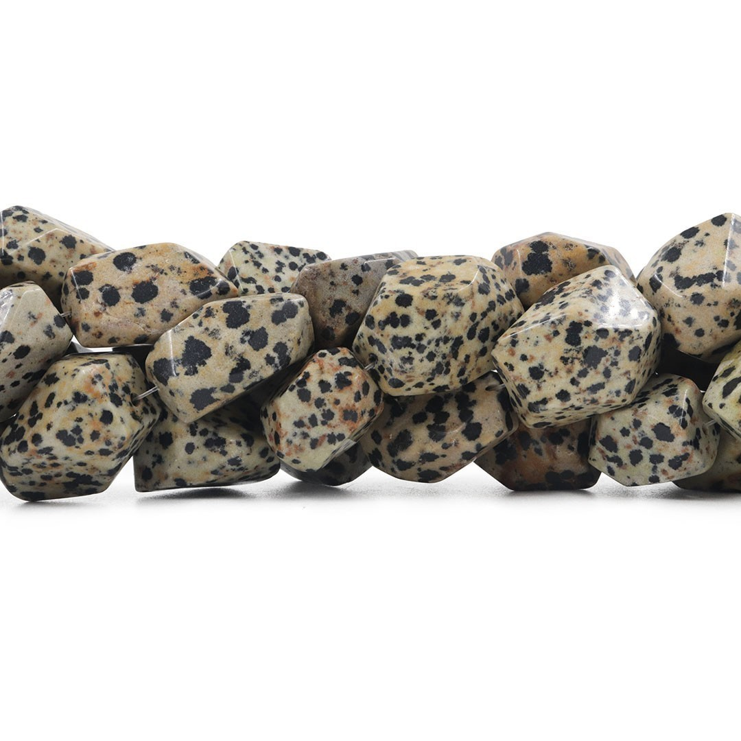 Fio de Obsidiana Dalmata Chanfrada Tamanhos Variados - RO015  - ArtStones