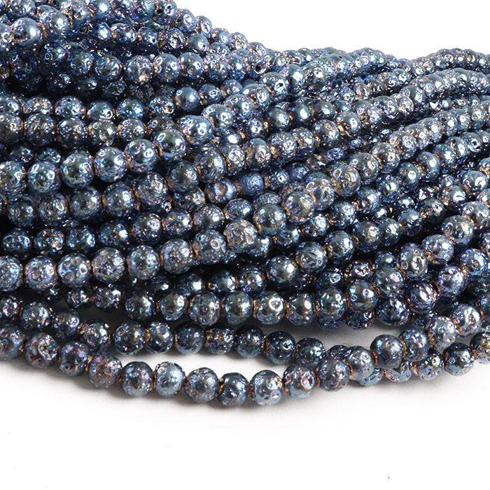 Fio de Pedra Vulcânica Azul Neon Metalizada 7mm - F539  - ArtStones