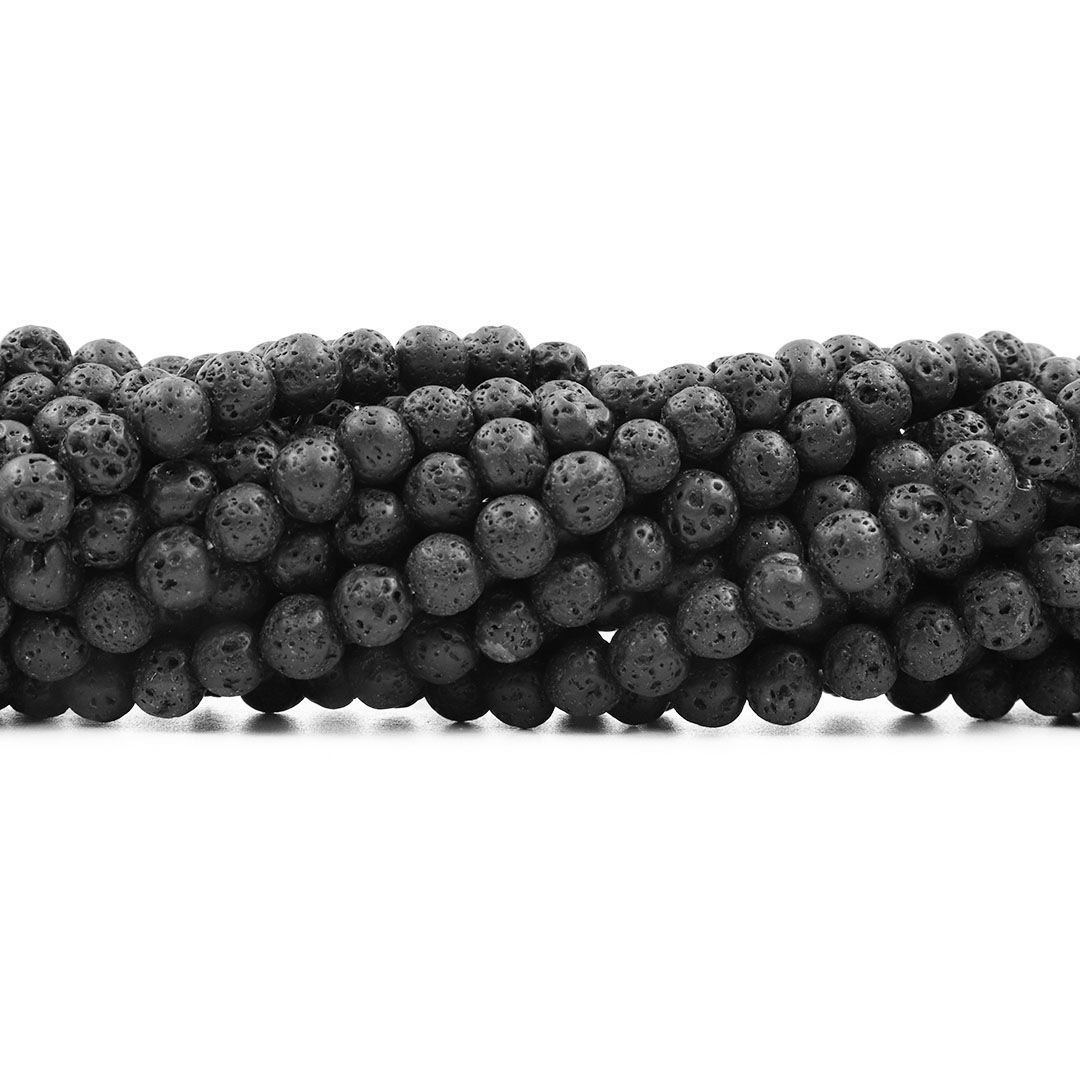 Fio de Pedra Vulcânica com Esferas de 6mm - F522  - ArtStones