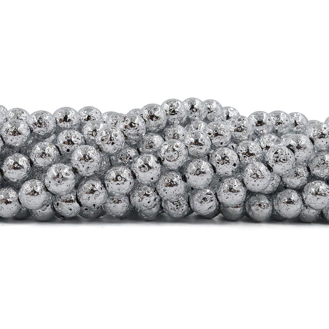 Pedra Vulcânica cor Prata Fio com Esferas de 8mm - F534  - ArtStones