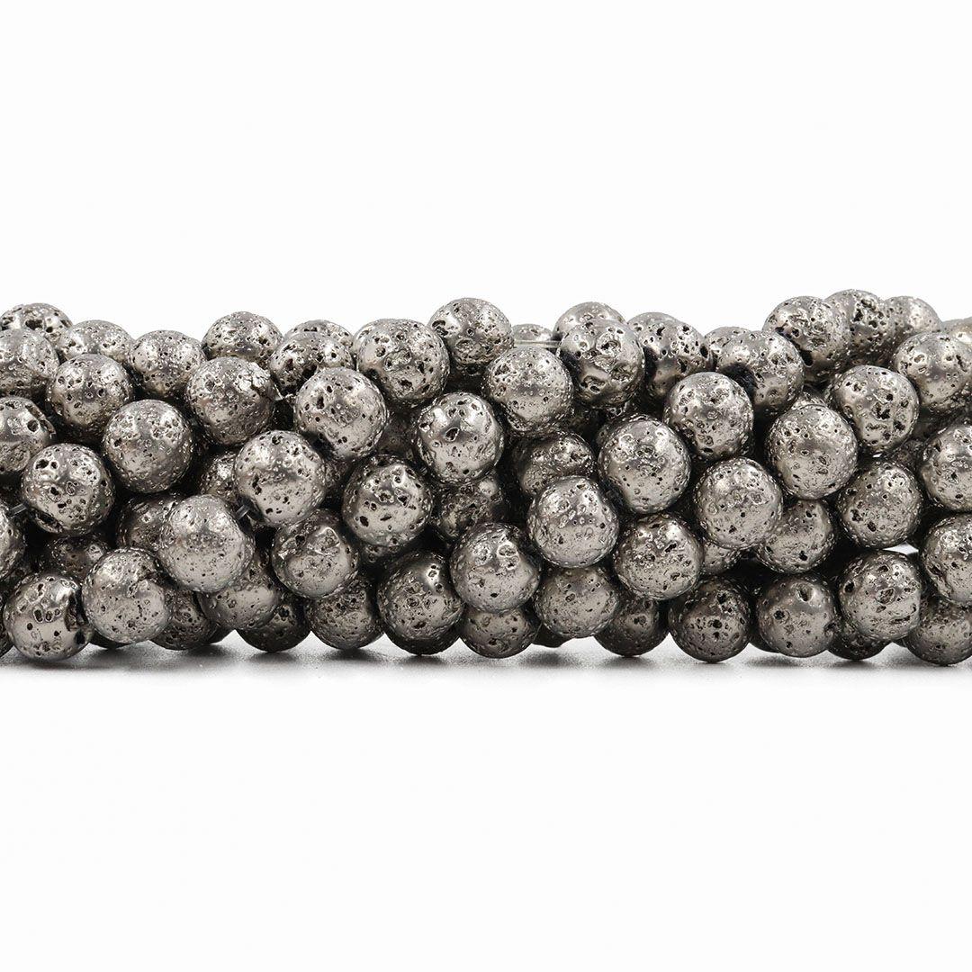Fio de Pedra Vulcânica cor Prata Velho 8mm - F532  - ArtStones