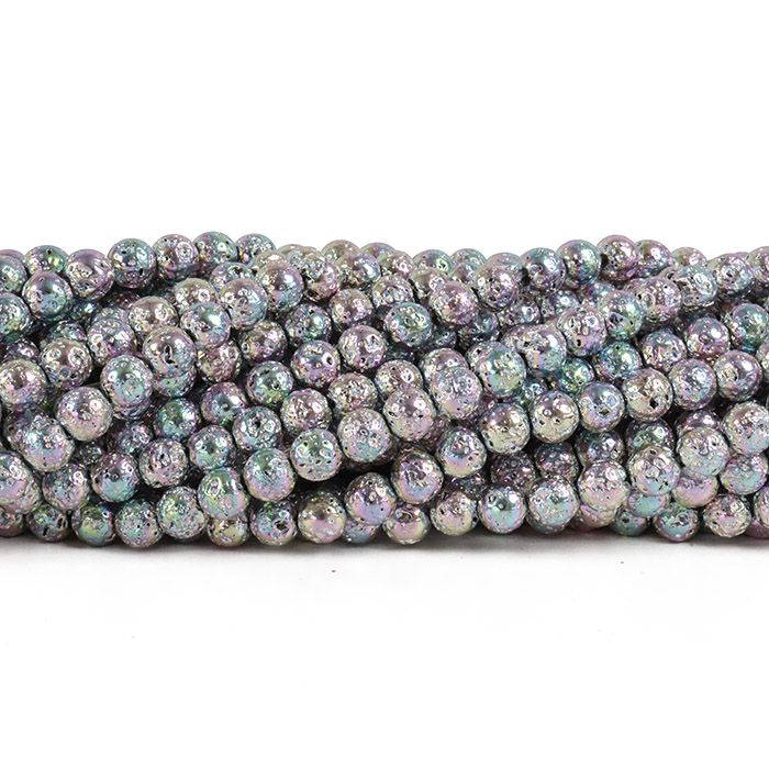 Fio de Pedra Vulcânica Metalizado Rosa 6mm - F537  - ArtStones