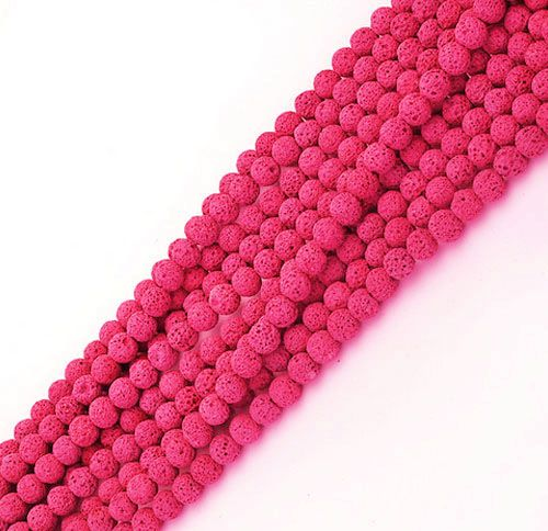 Fio de Pedra Vulcânica Rosa com Esferas de 8mm - F000  - ArtStones