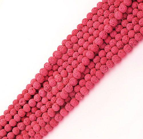 Fio de Pedra Vulcânica Rosa Neon com Esferas de 6mm - F525  - ArtStones