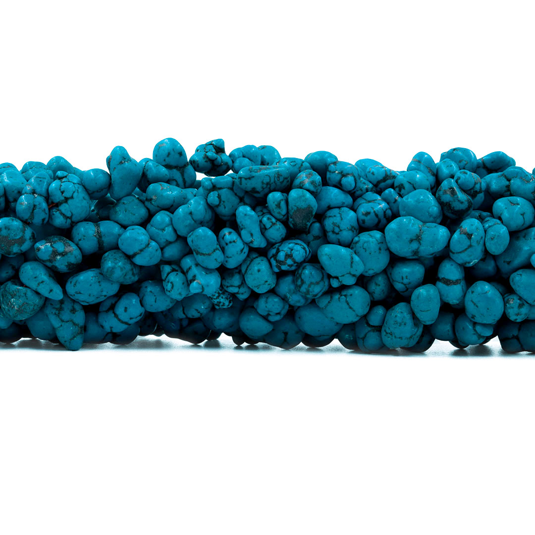 Fio de Howlita Turquesa Cérebro Azul Escuro Rolada - Tamanhos Variados - RO056  - ArtStones