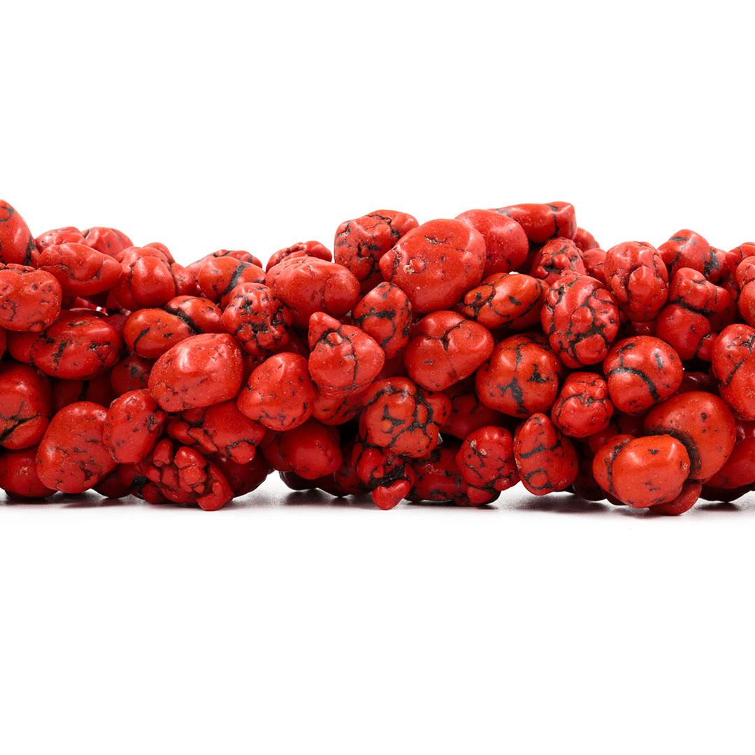 Fio de Howlita Turquesa Cérebro Vermelho Tomate Rolada - Tamanhos Variados - RO051  - ArtStones