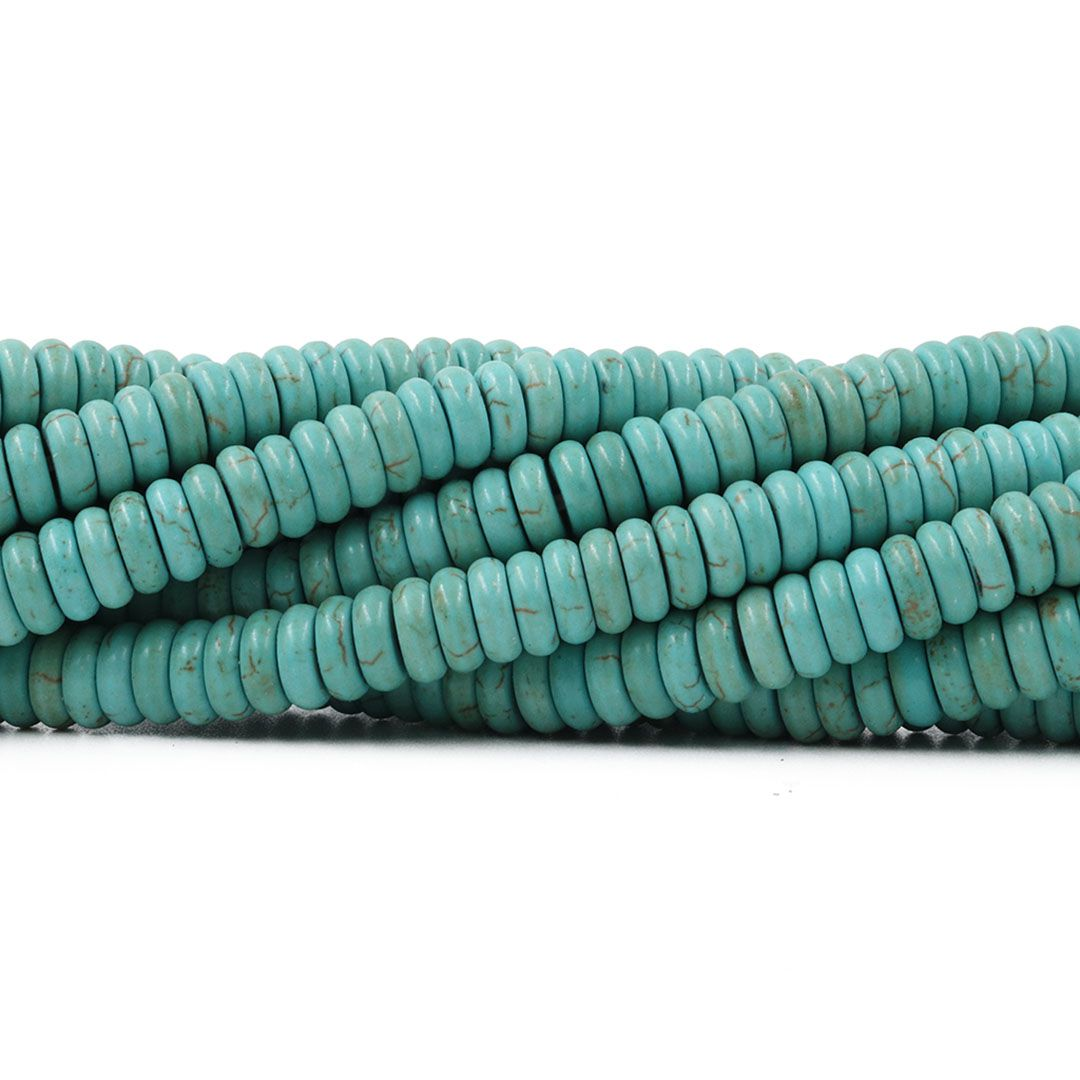Fio de Turquesa Howlita Azul Rondel 6mm - HO026  - ArtStones