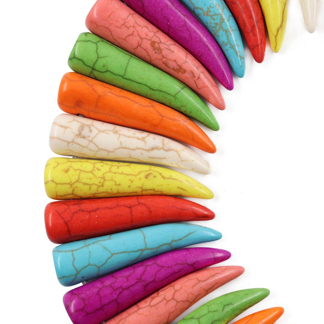 Fio Dente de Howlita Colorida Tamanhos Variados - HO022  - ArtStones