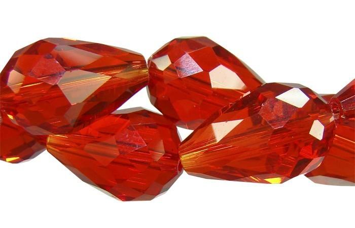 Gota Multifacetada de Cristal de Vidro Vermelho 12x8mm - 6 Peças - CV173  - ArtStones