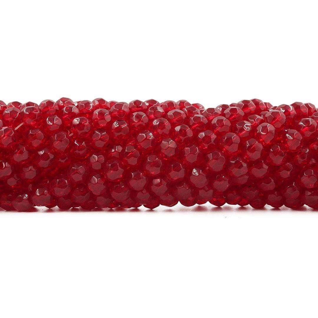 Fio para Guia de Cristal de Vidro Vermelho Dark 8mm - 126 cristais  - CV309  - ArtStones