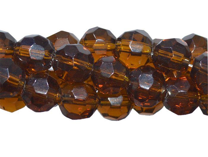 Fio para Guia de Cristal de Vidro Citrino Escuro 10mm - 108 cristais  - CV224  - ArtStones