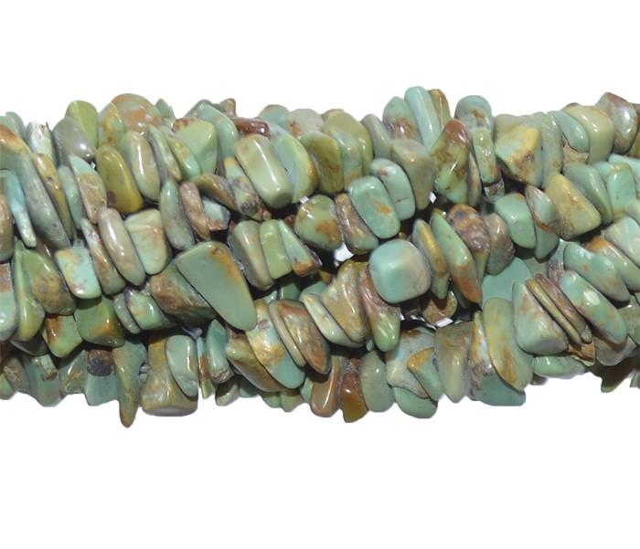 Fio de Cascalho de Turquesa Africana Verde  - FC070  - ArtStones