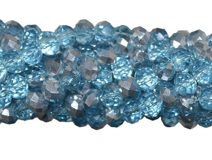 Fio de Cristal de Vidro Azul com Prata 6mm - 98 cristais - CV102  - ArtStones