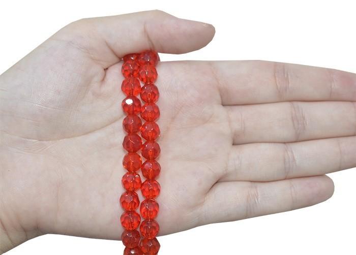 Fio para Guia de Cristal de Vidro Vermelho 8mm - 126 cristais  - CV213  - ArtStones