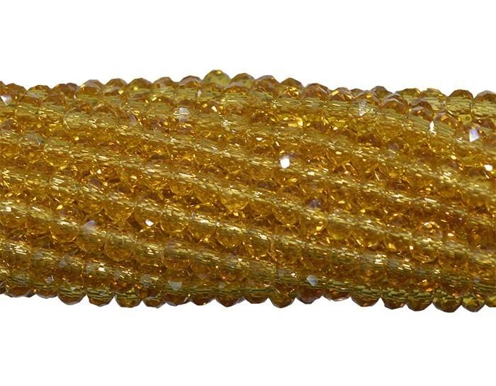 Fio de Cristal de Vidro Citrino Escuro 3mm - 144 cristais - CV050  - ArtStones