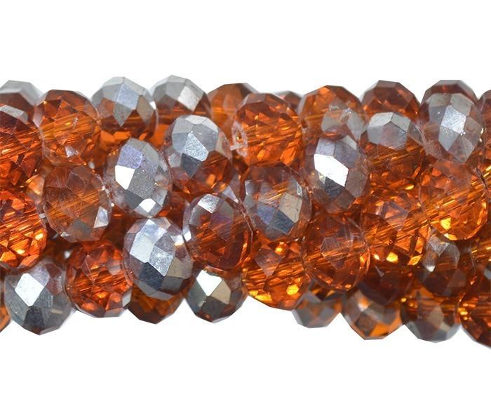 Fio de Cristal de Vidro Laranja com Prata 6mm - 98 cristais - CV104  - ArtStones