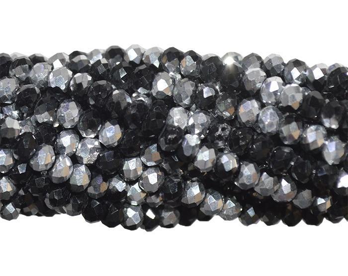 Fio de Cristal de Vidro Preto com Prata 3mm - 144 cristais - CV057  - ArtStones