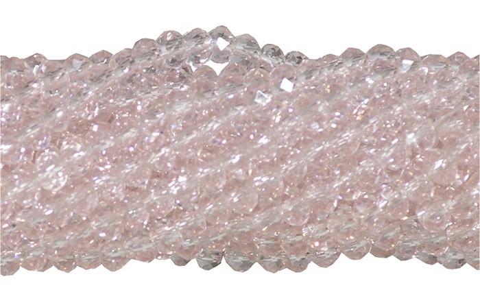 Fio de Cristal de Vidro Rosa 4mm - 140 cristais - CV081  - ArtStones