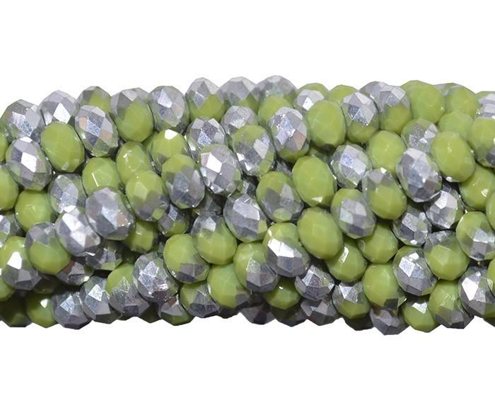 Fio de Cristal de Vidro Pistache com Prata 8mm - 70 cristais - CV122  - ArtStones
