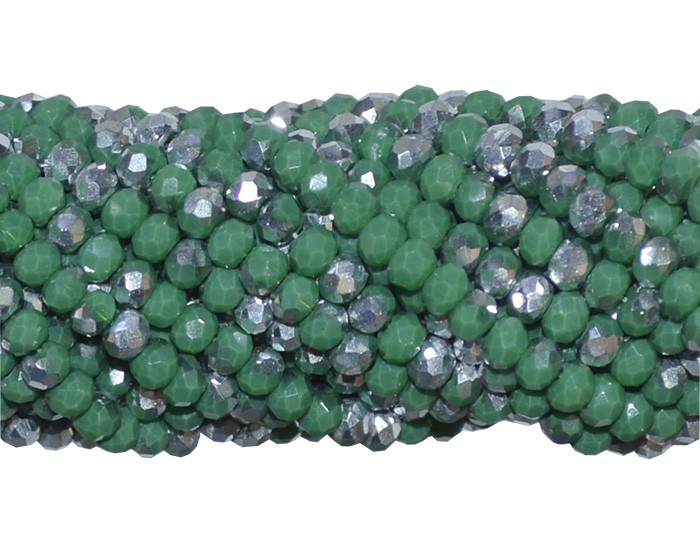 Fio de Cristal de Vidro Esmeralda e Prata 3mm - 144 cristais - CV042  - ArtStones