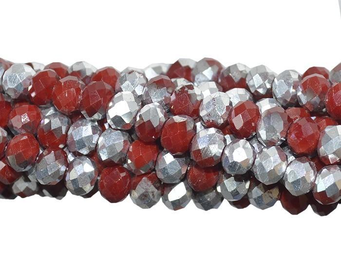 Cristal de Vidro Rubi com Prata 6mm - 30 Peças - CV176  - ArtStones