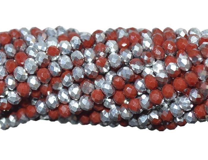 Fio de Cristal de Vidro Rubi com Prata 4mm - 140 cristais - CV088  - ArtStones