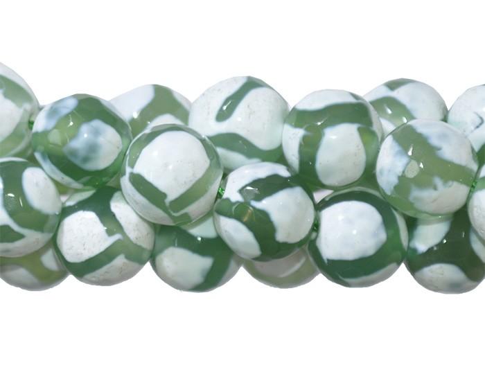 Ágata Tibetana Verde Fio com Esferas Facetadas de 10mm - F136  - ArtStones