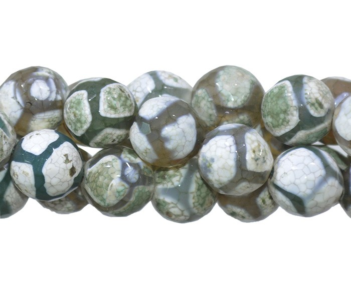 Ágata Tibetana Mesclada Fio com Esferas Facetadas de 10mm - F133  - ArtStones