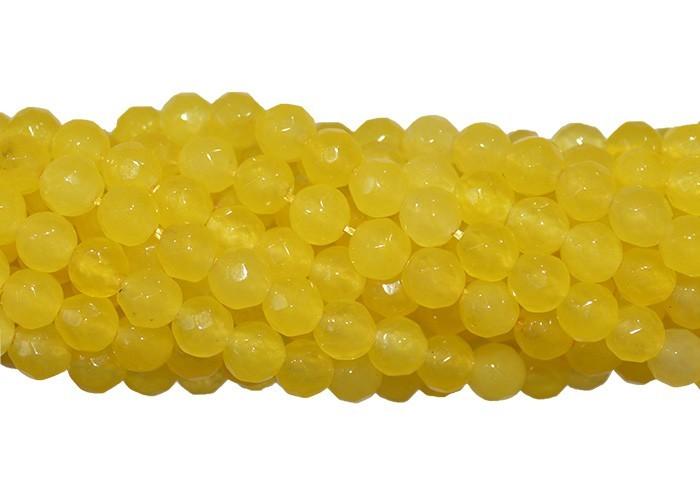 Jade Amarelo Canário Fio com Esferas Facetadas de 4mm - F283  - ArtStones