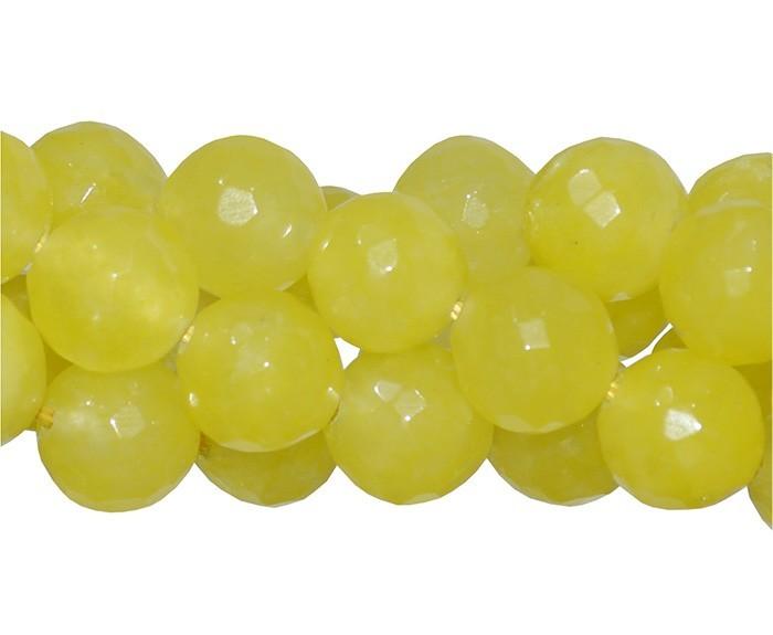 Jade Yellow Fio com Esferas Facetadas de 14mm - F285  - ArtStones
