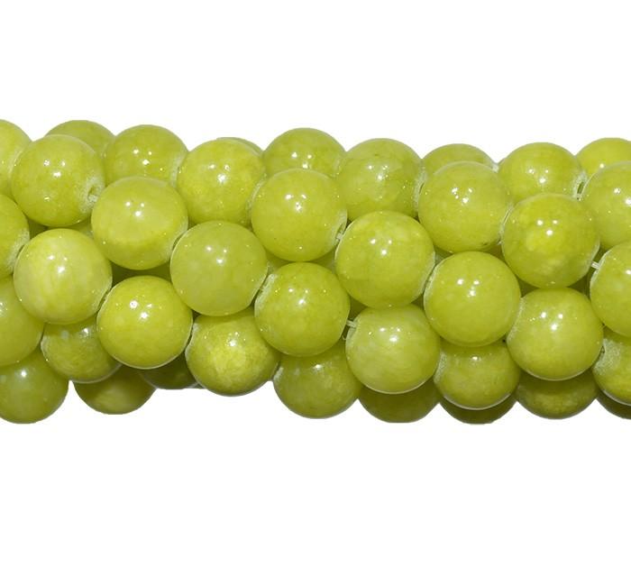 Jade Lima Leitoso Fio com Esferas de 6mm - F386  - ArtStones