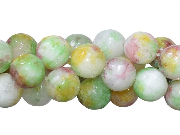 Jade Multicolor Fio com Esferas Facetadas de 12mm - F363  - ArtStones