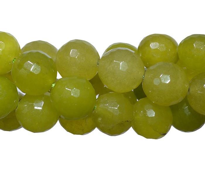 Jade Oliva Translucido Fio com Esferas Facetadas de 12mm - F402  - ArtStones