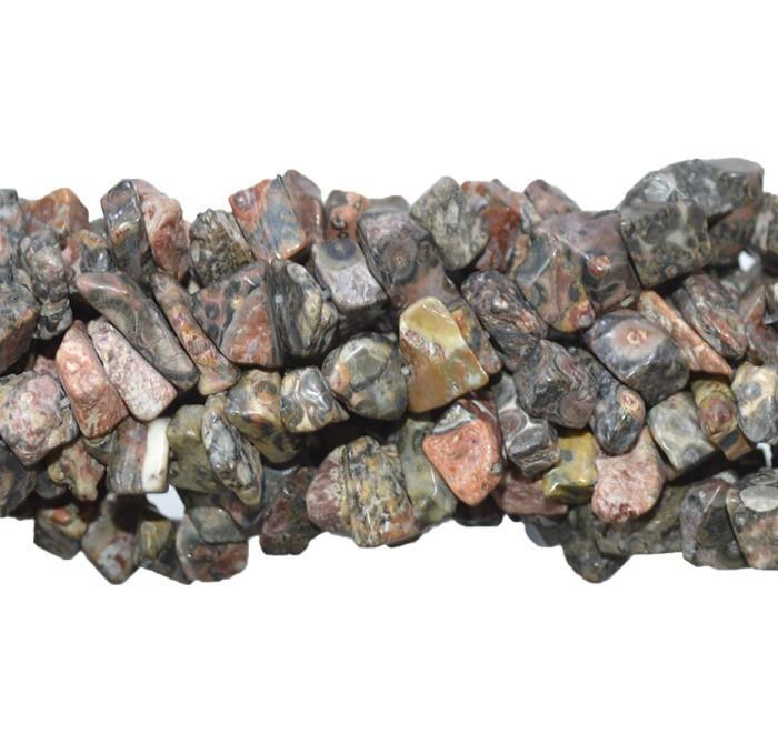 Fio de Cascalho de Jaspe Leopardo Rústico - FCA_192  - ArtStones