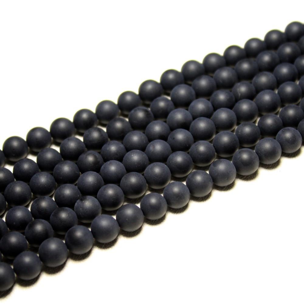 Murano Indiano Preto Fosco Qualidade AA 8mm - 46 esferas - CV232  - ArtStones