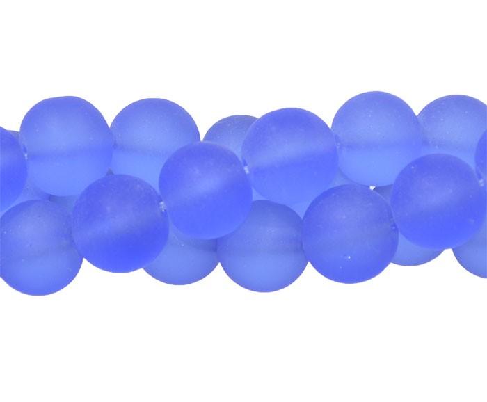 Murano Indiano Azul 8mm Fosco - 28 peças - CV321  - ArtStones