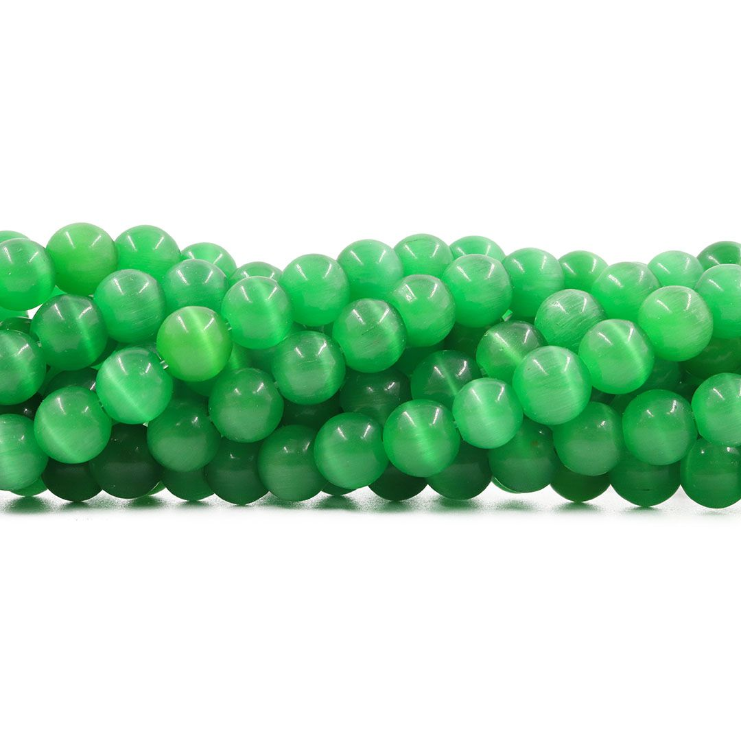 Olho de Gato Verde Lima Fio com Esferas - OM064  - ArtStones