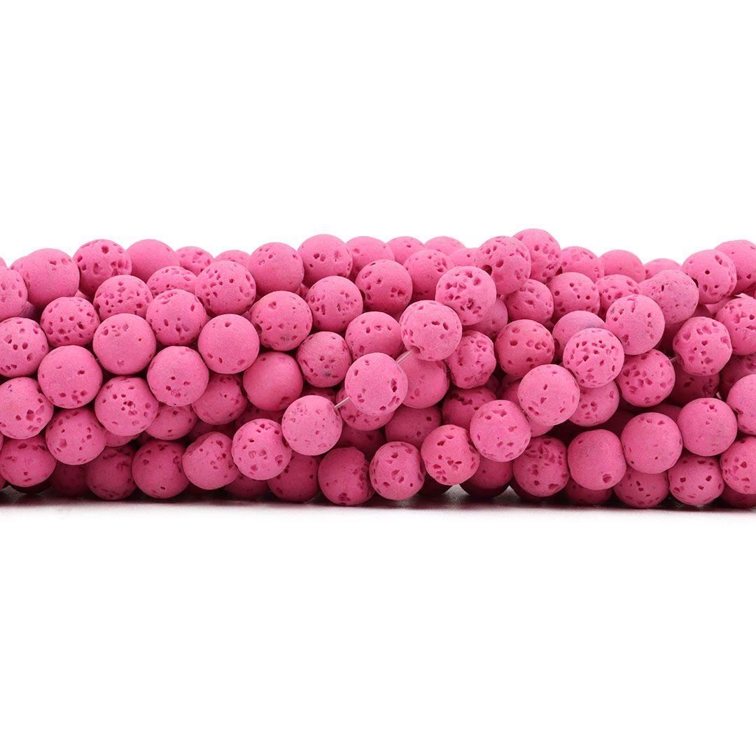 Pedra Vulcânica Rosa Chiclete Fio com Esferas de 8mm - F528  - ArtStones