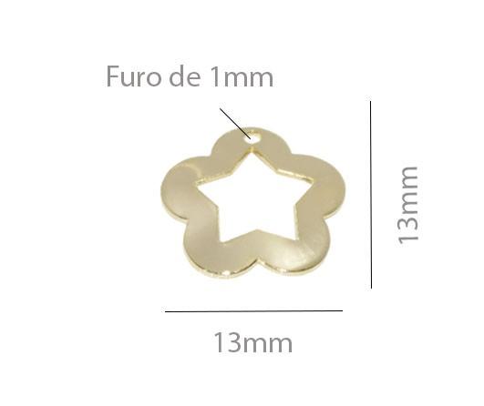 Penduricalho Flor 13mm Folheado - 2grs - FO275  - ArtStones