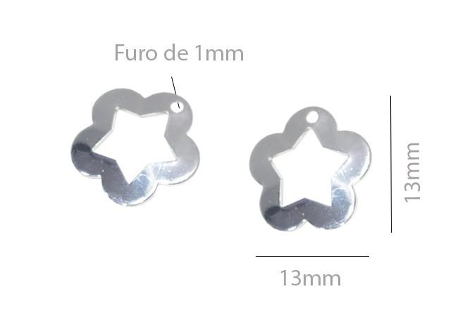 Penduricalho Flor 13mm Folheado a Prata - 10 Peças - PEFO_126  - ArtStones