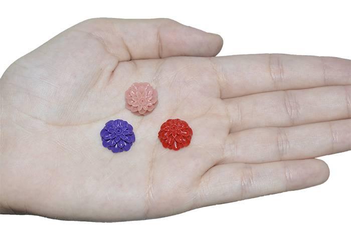 Flor de Resina 15mm Cores Variadas - 5 Peças - CF_501/15  - ArtStones