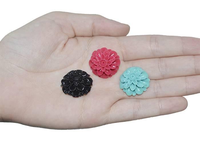Flor de Resina 24mm Cores Variadas - 3 Peças - OM040  - ArtStones