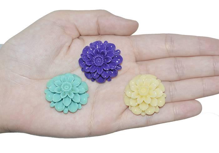 Flor de Resina 30mm Cores Variadas - 3 Peças - OM041  - ArtStones