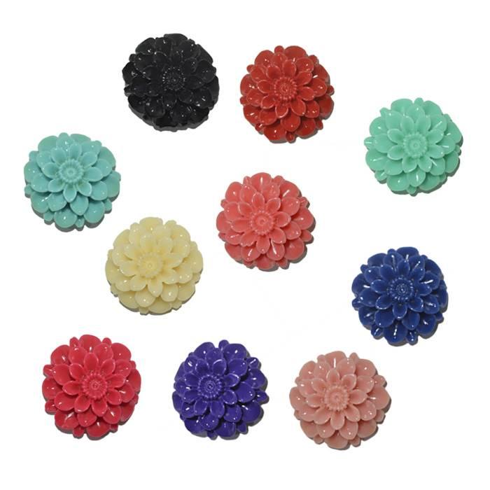 Flor de Resina 20mm Cores Variadas - 5 Peças - OM039  - ArtStones