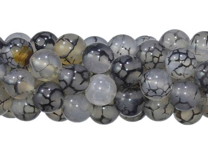 Ágata Dragon Cinza Fio com Esferas de 10mm - F051  - ArtStones