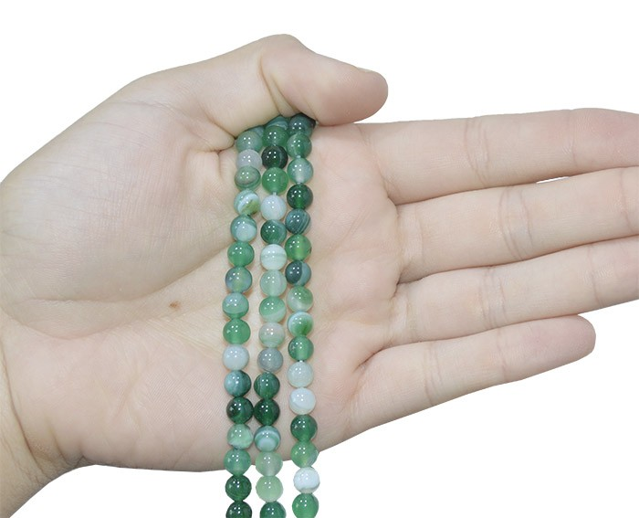Ágata Verde Mesclada Fio com Esferas de 6mm - F077  - ArtStones