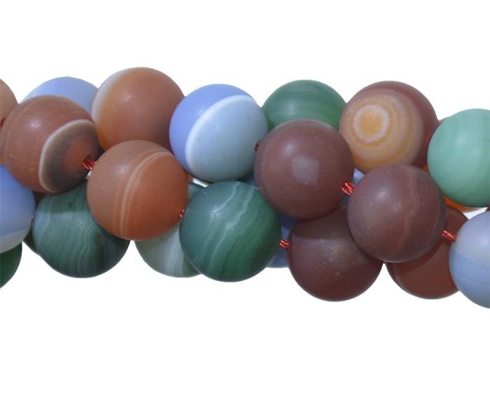 Ágata Mix Fosco Fio com Esferas de 10mm - FAG_212/10  - ArtStones