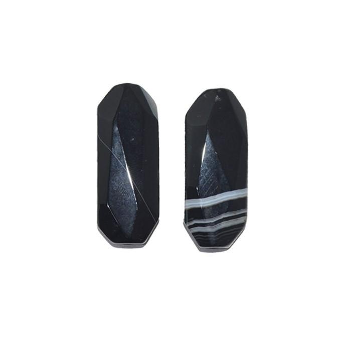 Ágata Preta Mesclada Retangular 40 a 42mm Facetada - 1 Peça - PA042  - ArtStones