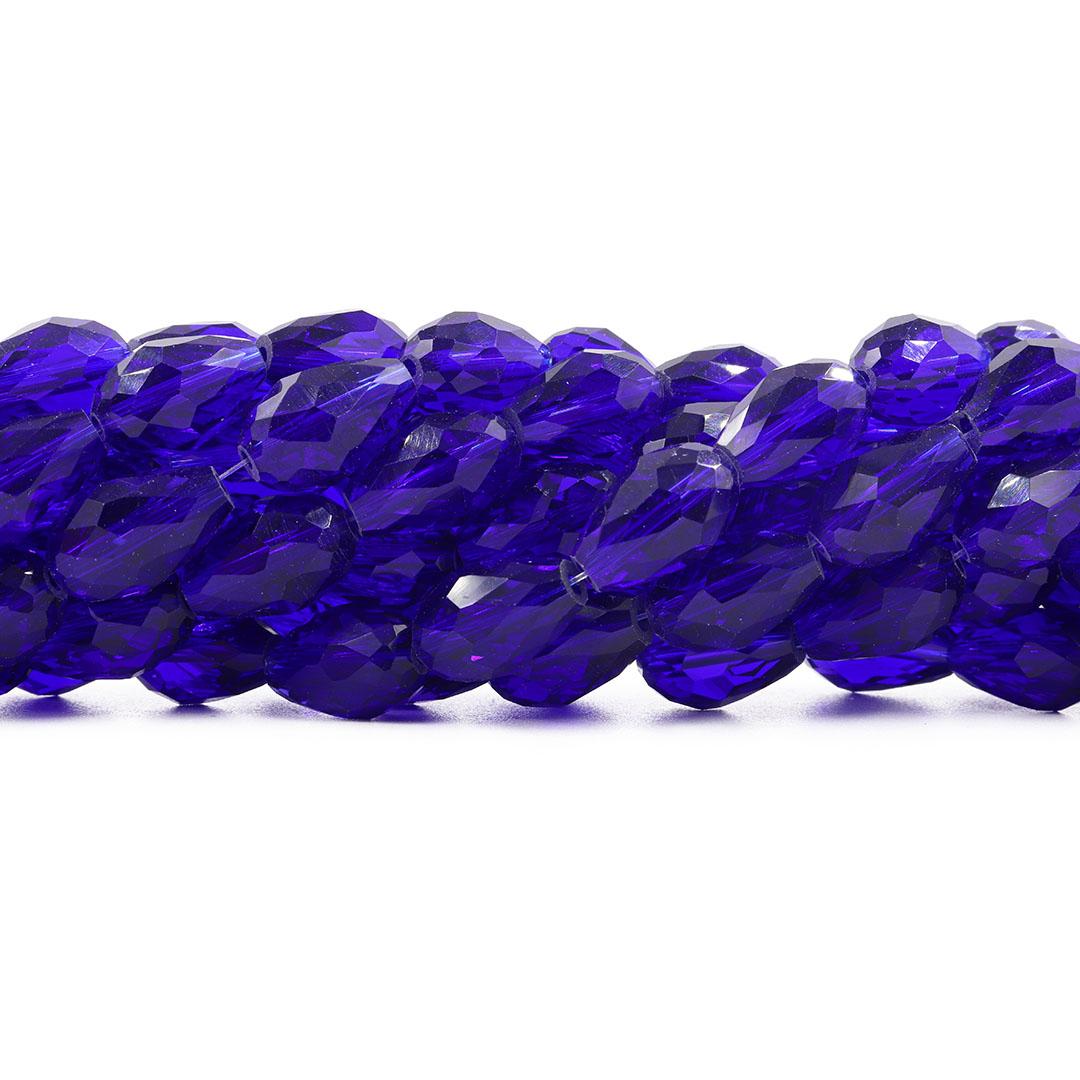 Gota de Cristal de Vidro Azul Bic Translúcido 15x10mm - CV177  - ArtStones